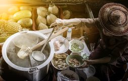 Thai noodle food making on floating boat in floating market thai royalty free stock photos
