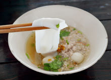 Thai noodle food. Thai food.noodle soup with fish ball and pork Royalty Free Stock Photo