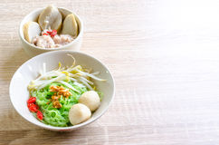 Thai Noodle with meat ball and crispy pork skin Royalty Free Stock Images