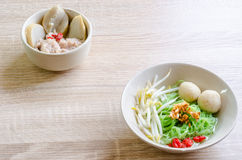 Thai Noodle with meat ball and crispy pork skin Stock Photos