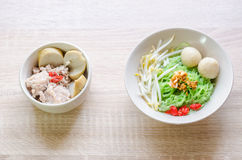 Thai Noodle with meat ball and crispy pork skin Stock Photo