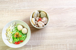 Thai Noodle with meat ball and crispy pork skin Royalty Free Stock Photography