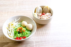 Thai Noodle with meat ball and crispy pork skin Royalty Free Stock Photo