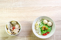 Thai Noodle with meat ball and crispy pork skin Royalty Free Stock Photos