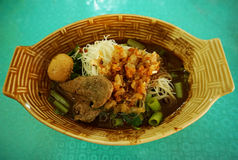 Thai noodle with meat ball -Thailand street food Royalty Free Stock Image