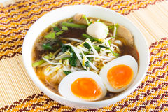 Thai noodle with meatball and boiled egg Royalty Free Stock Images