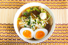 Thai noodle with meatball and boiled egg Stock Photos
