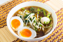 Thai noodle with meatball and boiled egg Stock Image