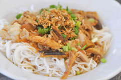 Thai noodle or northern Thai noodle with fish and vegetable Stock Image