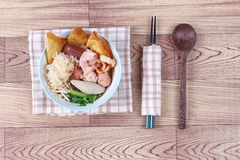 Thai noodle with pink soup called  Yen Ta Fo . Royalty Free Stock Image