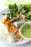Thai  Noodle Salad with fish. Delicious Thai Dishes,  Noodle Salad with steamed Fish and spicy sweet sour dressing Stock Photo
