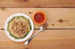 Thai noodle with sause and fork Royalty Free Stock Image