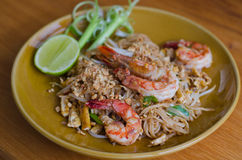 Thai noodle with shrimp Stock Photography