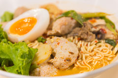 Thai noodle soup in a bowl taste spicy noodle soup Royalty Free Stock Image
