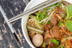 Thai noodle soup. Noodle soup with intense flavor and beef, Thai local food Royalty Free Stock Image