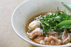 Thai noodle soup (Kuay Tiew Ruer). Serve with Basil, bean Sprout. Thai noodle soup . Serve with Basil, bean Sprout royalty free stock image