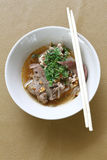 Thai noodle soup (Kuay Tiew Ruer). Serve with Basil, bean Sprout. Thai noodle soup . Serve with Basil, bean Sprout royalty free stock photo