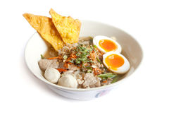 Thai noodle soup with pork ball Stock Images