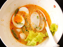 Thai noodle soup with pork ball and egg Royalty Free Stock Photography