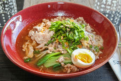 Thai noodle soup with pork Stock Photography