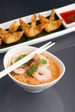 Thai Noodle Soup with Prawns Royalty Free Stock Photos