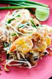 Thai noodle Stir fried Shrimp a pad thai Royalty Free Stock Image