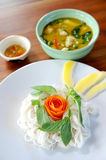 Thai noodle with vegetable and curry Royalty Free Stock Images