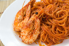 Thai Noodles. Thai Food of the South, Stir Fried Rice noodles with Curry-Coconut Peanut Sauce  and Shrimps (Pad Mee Kati Royalty Free Stock Photos