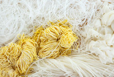 Thai Noodles. Variety types and shapes of Thai noodles. (Mung bean noodles, Rice noodles, Egg noodles Stock Photography