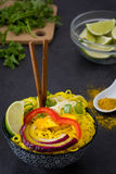 Thai noodles and curry on slate Royalty Free Stock Images