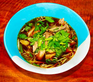 Thai noodles with duck. Soup in the bowl Royalty Free Stock Photos