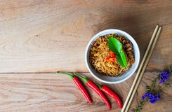 Thai noodles food mama background wood wallpaper Royalty Free Stock Images