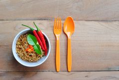 Thai noodles food mama background wood wallpaper Stock Image