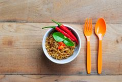 Thai noodles food mama background wood wallpaper Stock Photography
