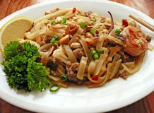 Thai noodles with meat Royalty Free Stock Photos