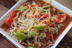 Thai noodles and papaya salad. In foam plate, a famous food in Thailand stock photos
