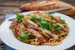 Thai noodles on plate. Thai noodles with vegetables and chicken on plate Stock Photos