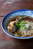 Thai noodles. In thai syled bowl Stock Images