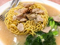 Thai Noodles topped with pork Royalty Free Stock Photos