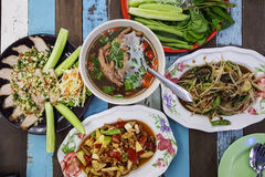 Thai north-east food. On wood table royalty free stock photography