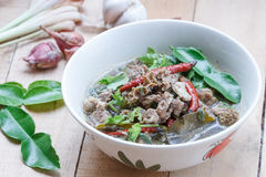 Thai Northeast food,Braised beef Spicy Soup Royalty Free Stock Photo
