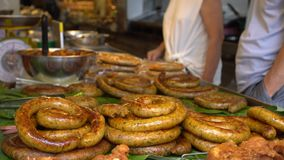 Thai Northern herb sausage in Chiang Mai market