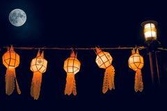 Thai Northern Lantern of Loy Krathong Festival in full moon day Royalty Free Stock Images