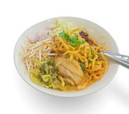 Thai northern style chicken crunchy noodle Stock Photo