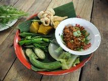 Thai Northern Style Pork and Tomato Relish  Nam Prik Aong ,  vegetables set Royalty Free Stock Photos