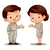 Thai official invite. Man and woman Thai official garb invite royalty free illustration