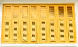 Thai old style classic window in yellow color Royalty Free Stock Photos