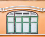 Thai old style classic window in yellow and green Royalty Free Stock Photos