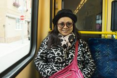 Thai old women people sitting on tramway from Sandhausen. Thai old woman people sitting on tramway from Sandhausen district go to Heidelberg altstadt or old town Royalty Free Stock Image