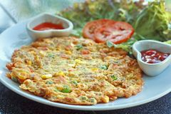 Thai omelette with mix vegetables Stock Photo